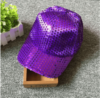 Кепка эстрадная с пайетками фиолетовая
