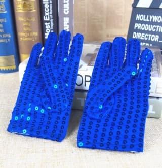 Перчатки эстрадные блестящие с пайетками синие