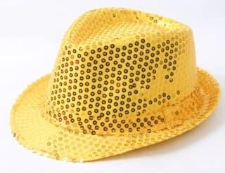 Шляпа эстрадная с пайетками золото