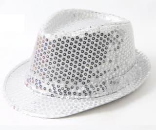 Шляпа эстрадная с пайетками серебро