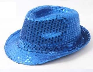 Шляпа эстрадная с пайетками синяя