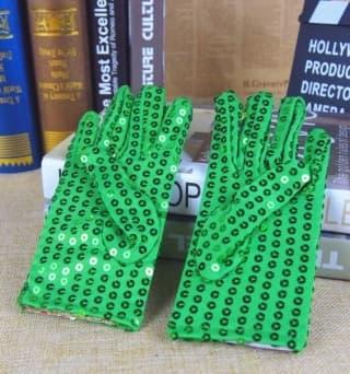 Перчатки эстрадные блестящие с пайетками зеленые
