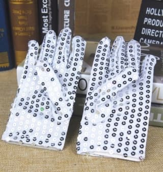 Перчатки эстрадные блестящие с пайетками серебро