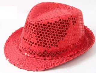 Шляпа эстрадная с пайетками красная