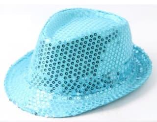 Шляпа эстрадная с пайетками голубая