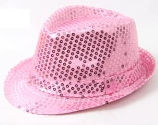 Шляпа эстрадная с пайетками розовая