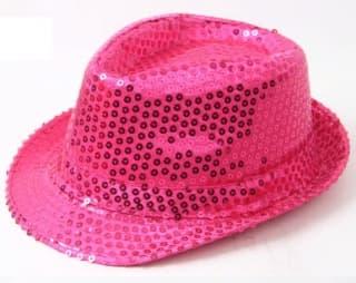 Шляпа эстрадная с пайетками малиновая
