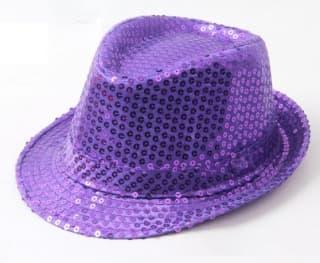Шляпа эстрадная с пайетками Фиолетовая