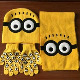 """Комплект желтый """"Миньон"""" шапка, шарф и перчатки"""