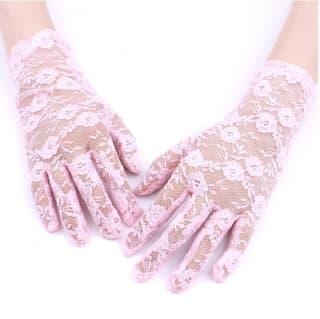 Перчатки ажурные гипюровые розовые