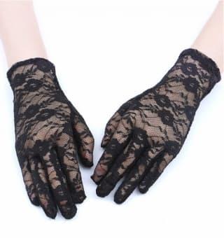 Перчатки ажурные гипюровые черные