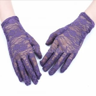 Перчатки ажурные гипюровые фиолетовые