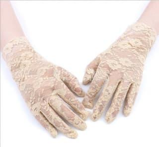 Перчатки ажурные гипюровые бежевые