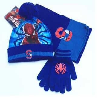 "Комплект синий ""Человек-паук"" шапка, шарф и перчатки"