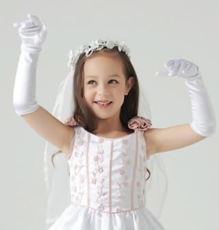 Детские перчатки атласные длинные