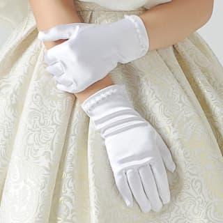 Детские перчатки атласные короткие с бусинками