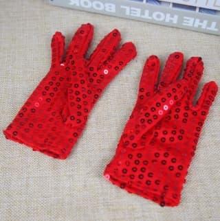 Перчатки эстрадные блестящие с пайетками красные