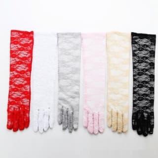 Перчатки ажурные гипюровые длинные