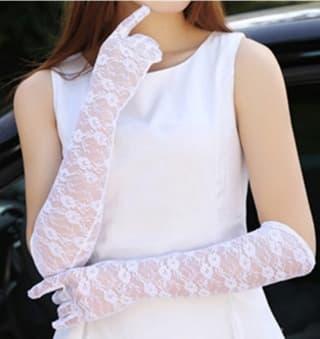 Перчатки ажурные гипюровые длинные белые
