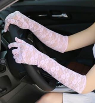 Перчатки ажурные гипюровые длинные розовые