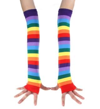Вязаные длинные перчатки Радуга