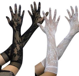 """Перчатки """"Сеточка"""" длинные с рисунком"""