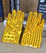 Перчатки эстрадные блестящие с пайетками золото