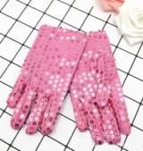 Перчатки эстрадные блестящие с пайетками розовые