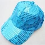 Кепка эстрадная с пайетками голубая