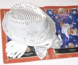 Комплект для выступлений: шляпа, бабочка с пайетками и белые перчатки
