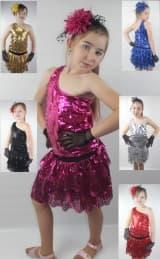 Комплект с пайетками для танцев: косая майка и юбка