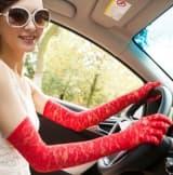 Перчатки ажурные гипюровые длинные красные