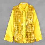 эстрадная одежда рубашка атласная с длинным рукавом с пайетками